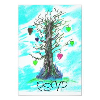 "Tree of Love Teal RSVP 3.5"" X 5"" Invitation Card"