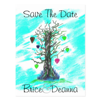 Tree of Love Teal Save The Date Postcard