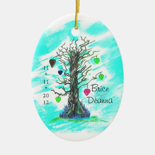 tree of love teal wedding favor christmas ornament zazzle