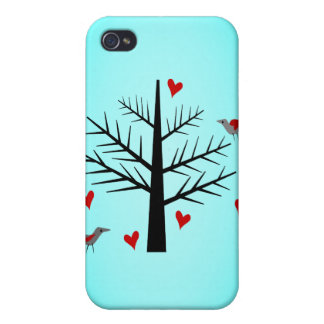 Tree of Love With Hearts And Birds iPhone 4 Cases