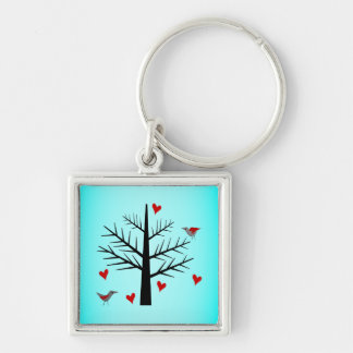 Tree of Love With Hearts And Birds Keychain