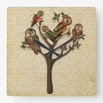 Tree of Owls Wall Clock