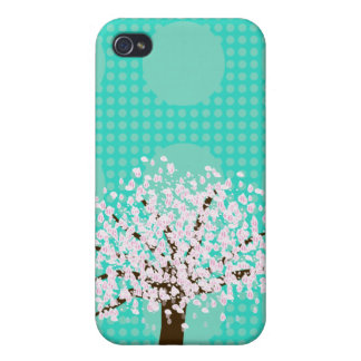 Tree on Dotted Teal iPhone 4/4S Case