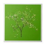 Tree on Green Background Ceramic Tile
