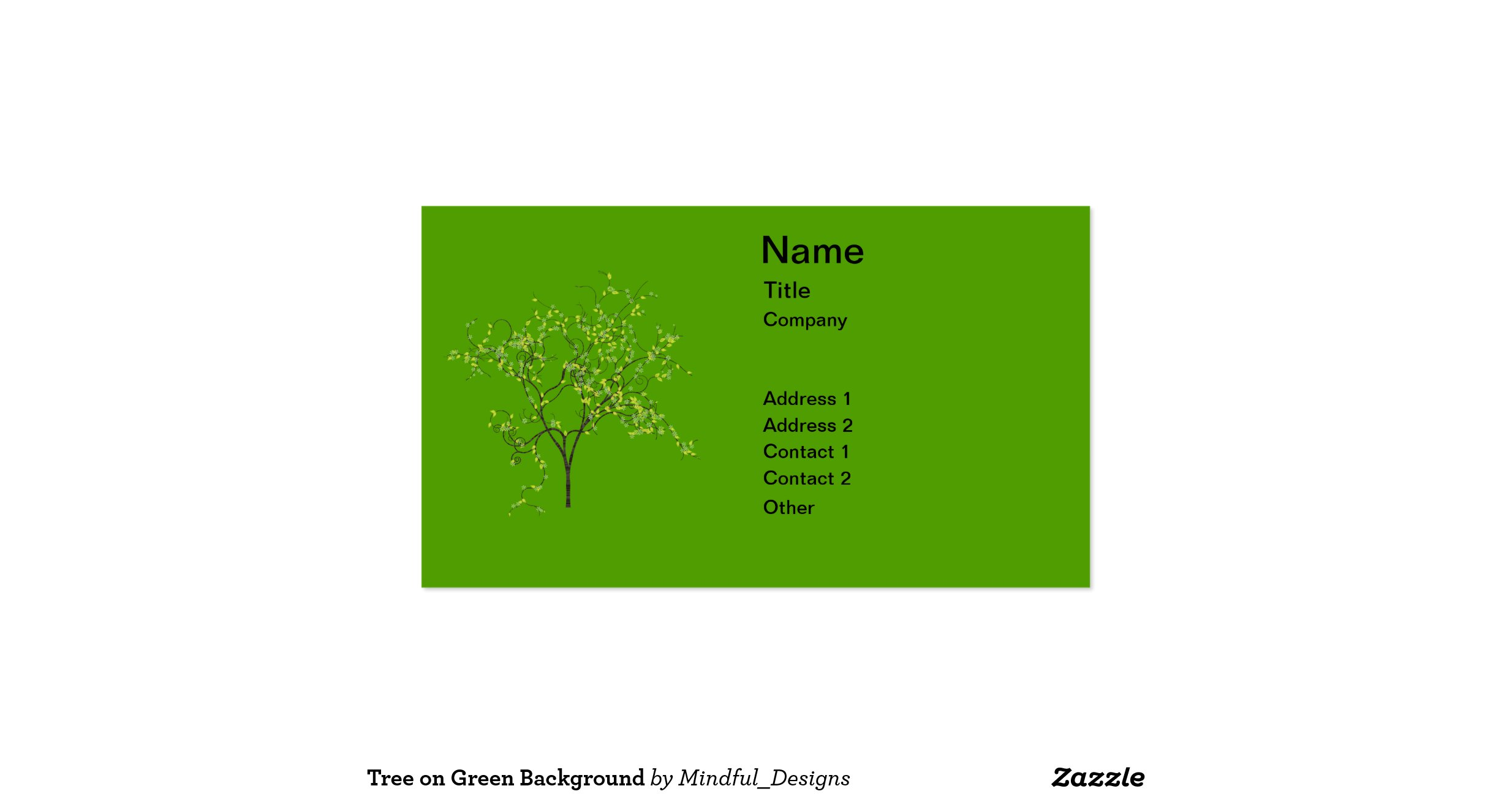 Tree on Green Background Double Sided Standard Business