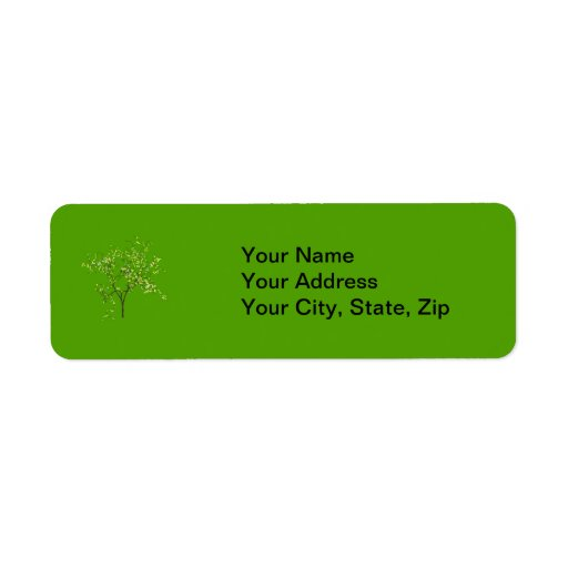 Tree on Green Background Custom Return Address Label