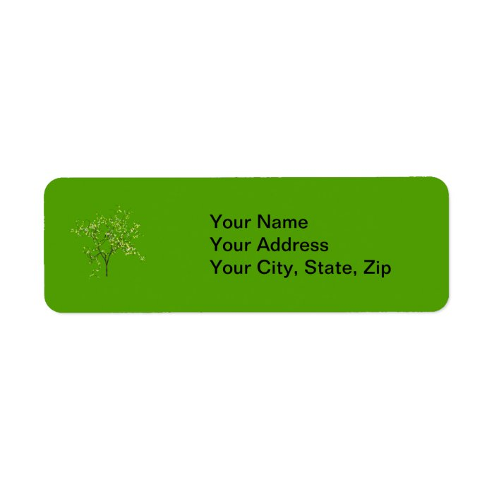 Tree on Green Background Label