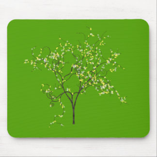 Tree on Green Background Mousepads
