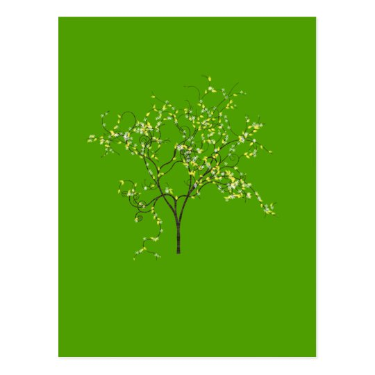 Tree on Green Background Postcard