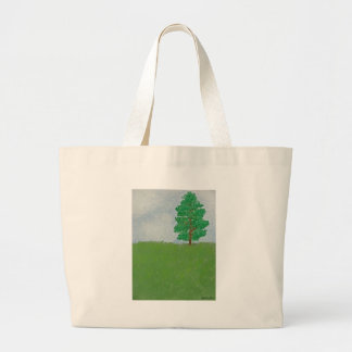 Tree on Hill - First Oil Painting Jumbo Tote Bag