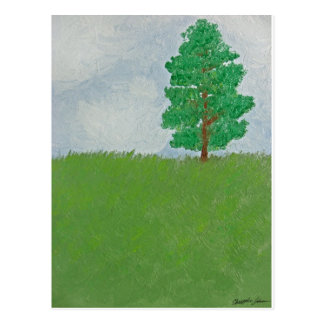 Tree on Hill - First Oil Painting Postcard