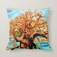 tree on the river, watercolor throw pillows
