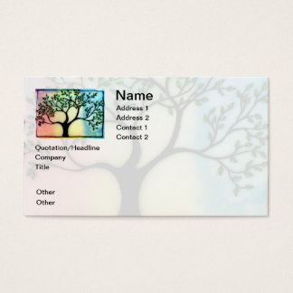 Tree on Vellum over watercolor background Business Card