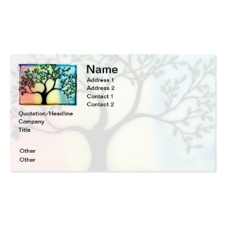 Tree on Vellum over watercolor background Business Card Templates