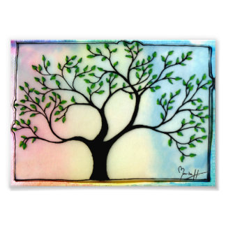 Tree on Vellum over watercolor background Photo Print