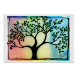 Tree on Vellum over watercolor background Print