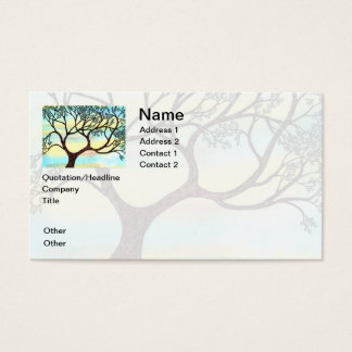 Tree on Vellum with Watercolor Background Business Card
