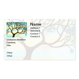 Tree on Vellum with Watercolor Background Business Cards