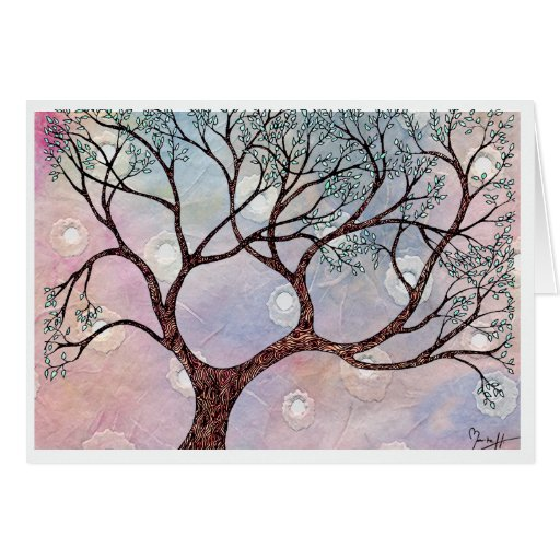Tree on Vellum with Watercolor Background Stationery Note Card