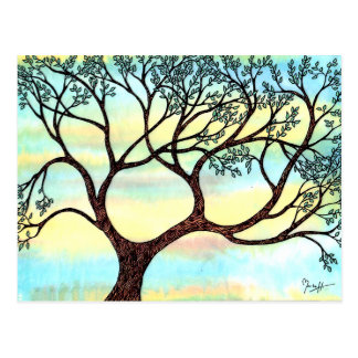 Tree on Vellum with Watercolor Background Postcard