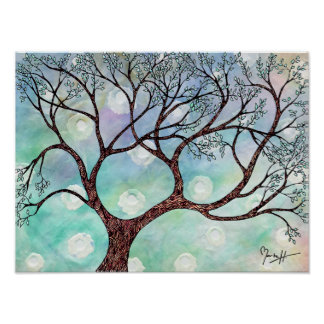 Tree on Vellum with Watercolor Background Poster