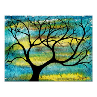 Tree on Vellum with Watercolor Background Print