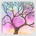 Tree on Vellum with Watercolor Background Square Sticker