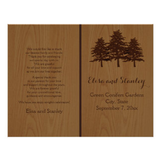 Tree on wood brown woodland wedding program