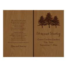 Tree on wood brown woodland wedding program personalized flyer