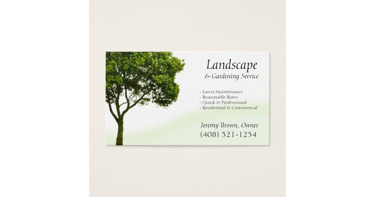 Tree Or Lawn Care Business Card Zazzle
