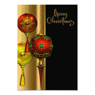 Tree Ornaments Red and Gold Christmas Party Card