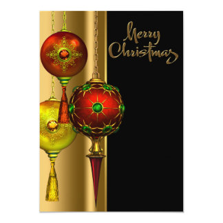 Tree Ornaments Red and Gold Christmas Party Custom Invitation