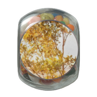 Tree outlined by setting sun jelly belly candy jar