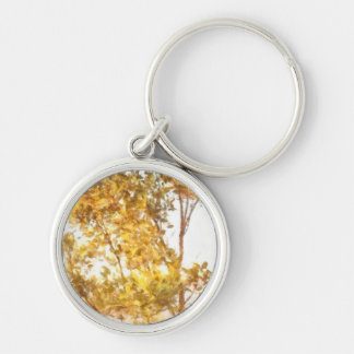 Tree outlined by setting sun keychain
