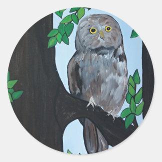 Tree Owl Classic Round Sticker