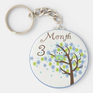 Tree Owl Milestone Month 3 Keychain