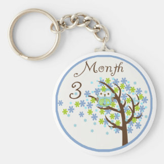 Tree Owl Milestone Month 3 Key Chain