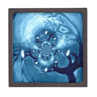 Tree Owls abstract art Jewelry Box