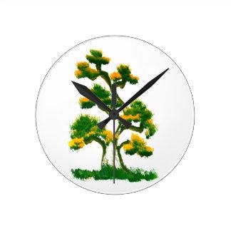 Tree Painting by Elephant Round Wall Clocks
