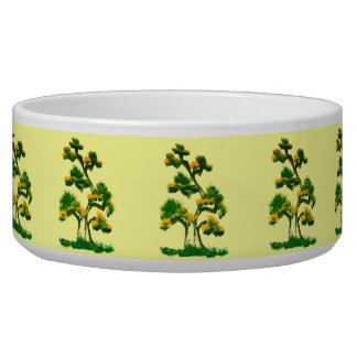 Tree Painting by Elephant Dog Food Bowls