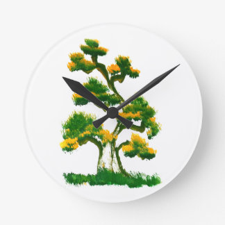 Tree Painting by Elephant Round Clock