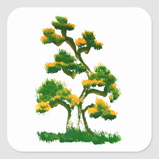 Tree Painting by Elephant Square Sticker