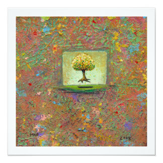 Tree painting fun earthy natural unique modern art card
