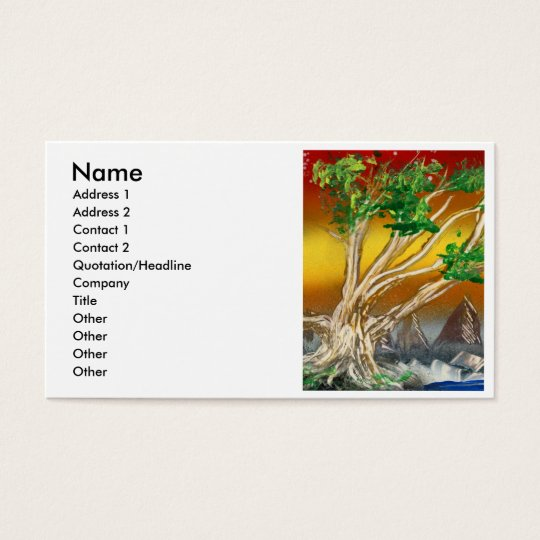 Tree Painting Red Orange with Mountains Business Card