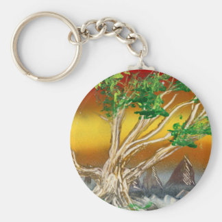 Tree Painting Red Orange with Mountains Basic Round Button Keychain