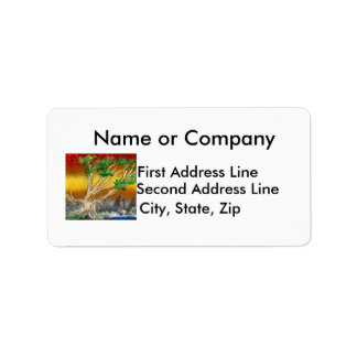 Tree Painting Red Orange with Mountains Address Label