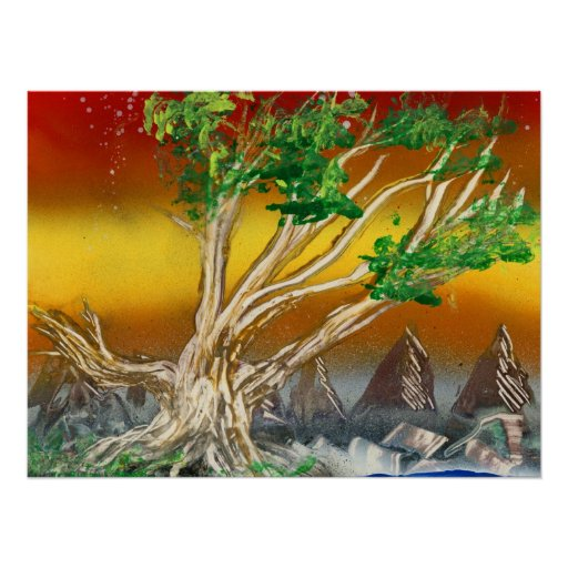 Tree Painting Red Orange with Mountains Posters