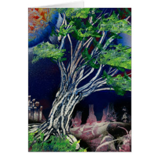 Tree Painting with blue city and orange sun Greeting Card