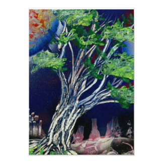 Tree Painting with blue city and orange sun 5x7 Paper Invitation Card