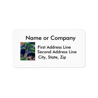 Tree Painting with blue city and orange sun Address Label